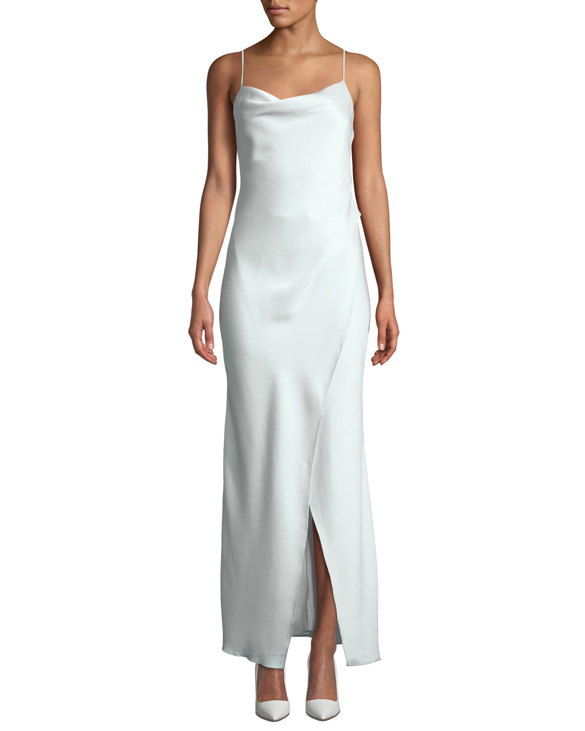 CAMILLA AND MARC Bowery Cowl-Neck Slip Gown, Light Green   Neiman Marcus
