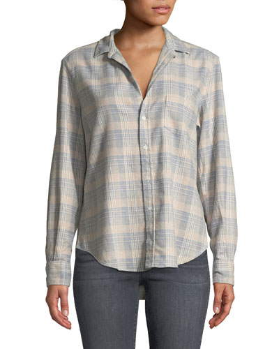 Long-Sleeve Button-Down Cotton Top