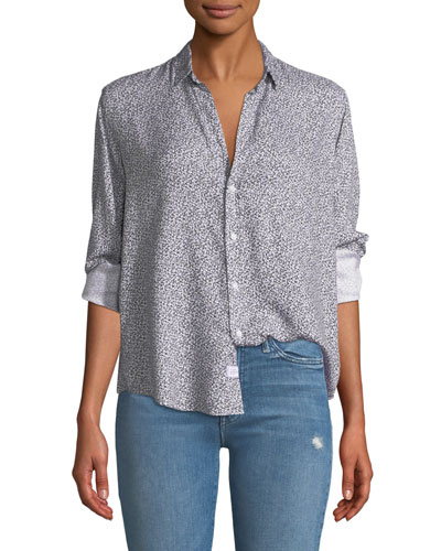 Ditsy Floral Button-Down Top