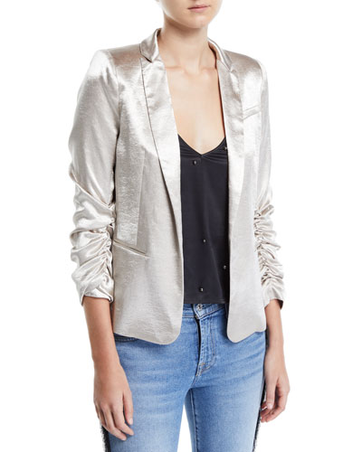 Fabien Satin Ruched-Sleeve Blazer