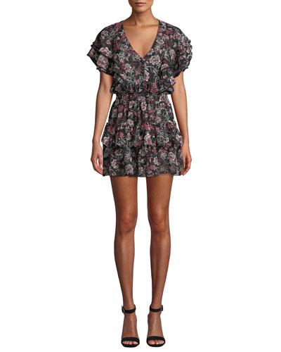 Gallie Tiered Ruffle Chiffon Mini Dress