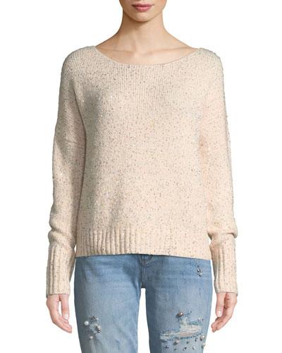 Katia Sequined Scoop-Neck Pullover Sweater