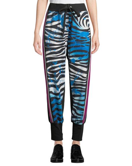 NO KA'OI Kanawai Pana Zebra-Print Jogger Track Pants in Multi Pattern