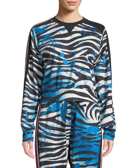 Nola Zebra-Print Cropped Sweatshirt in Multi Pattern