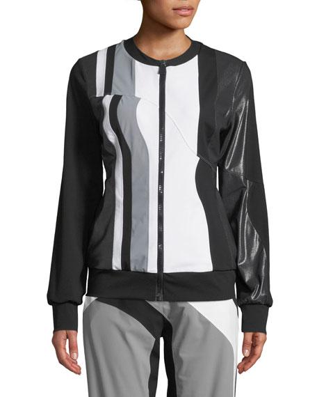Nola Colorblock Zip-Front Track Jacket in Multi Pattern