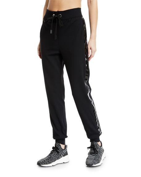 NO KA'OI Kana Drawstring Jogger Track Pants With Racer Stripes in Black