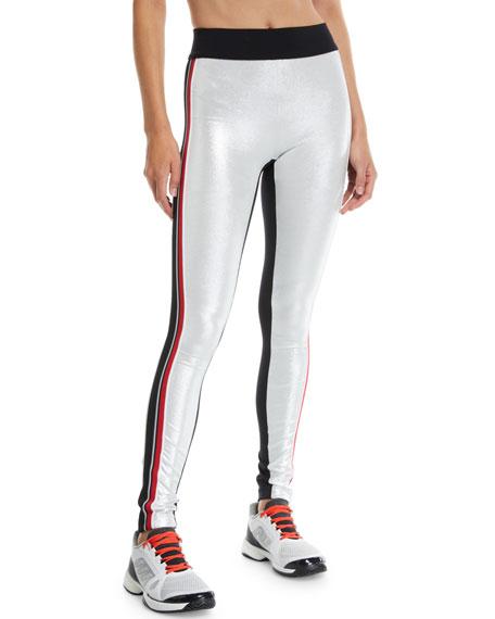 NO KA'OI Kipi Metallic Racer Stripe Leggings in Multi Pattern