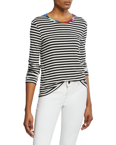 Striped Long-Sleeve Tee with Colorful Neckline
