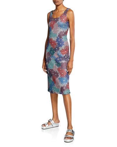 x Margherita Brillare Floral Metallic Sleeveless Dress