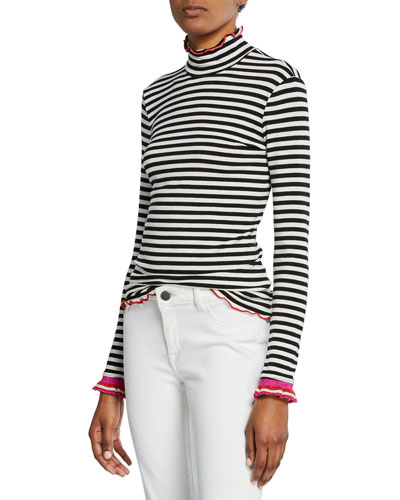 x Margherita Dolce Vita Striped Turtleneck Top