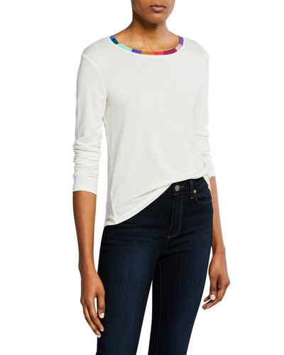 Long-Sleeve Wool-Blend Tee with Colorful Neckline