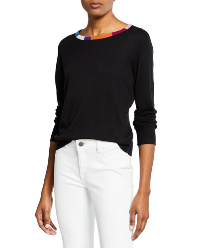 x Margherita Cashmere-Blend Sweater with Colorful Neckline