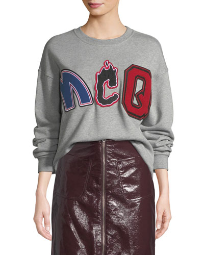 Slouchy Embroidered Pullover Sweatshirt