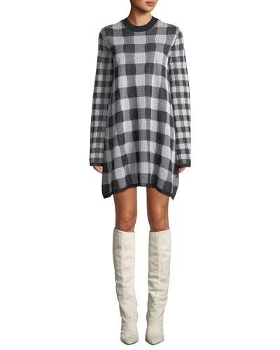Checkerboard Long-Sleeve Sweater Dress