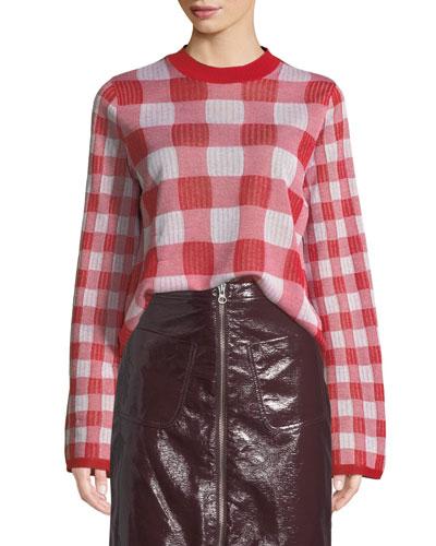 Checkerboard Crewneck Pullover Sweater