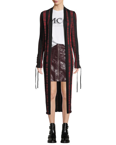 Bodycon Striped Lace-Up Cardigan