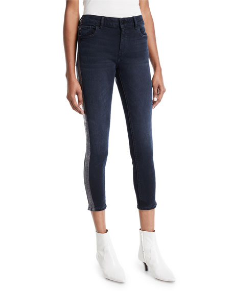Dl Premium Denim FLORENCE CROPPED MID-RISE SKINNY JEANS WITH SIDE-STRIPES