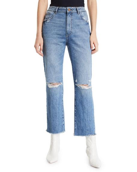 DL PREMIUM DENIM Jerry High-Rise Vintage Straight Ankle Jeans in Veracruz
