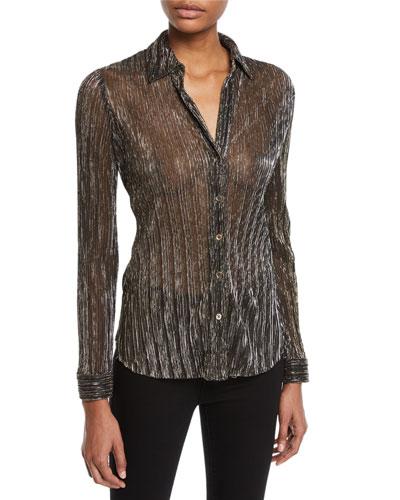 Nina Long-Sleeve Metallic Button-Front Blouse