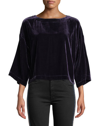 Christel Velvet Dolman-Sleeve Cropped Top