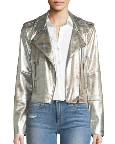 Brooklee Foiled Faux-Suede Moto Jacket