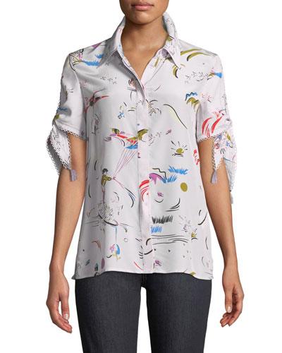 Daydream Tie-Sleeve Silk Shirt
