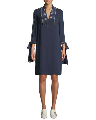 Silk Tunic Georgette Dress with 3/4 Tie-Sleeves