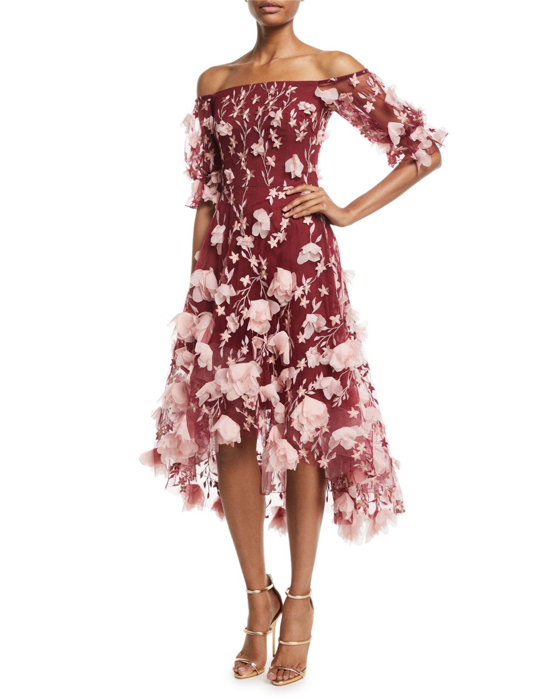 5aa3dc5b Marchesa Notte Off-the-Shoulder 3D-Floral High-Low Cocktail Dress ...