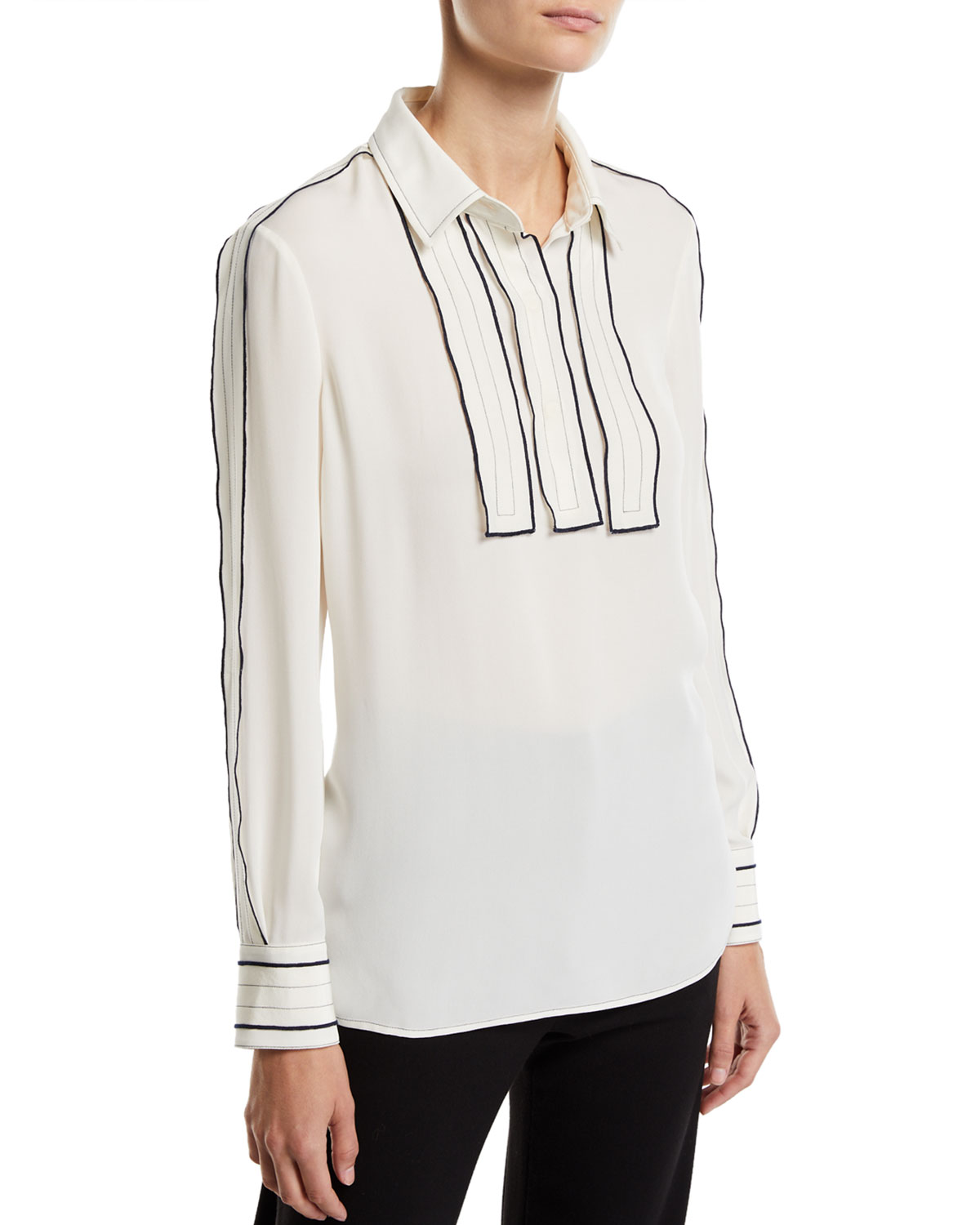 Long-Sleeve Silk Blouse w/ Contrast Trim