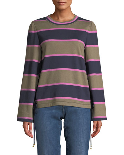 Lace-Up Rugby Stripe Cotton Pullover