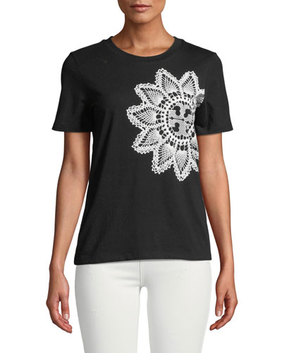 Lace-Placed Print Tee