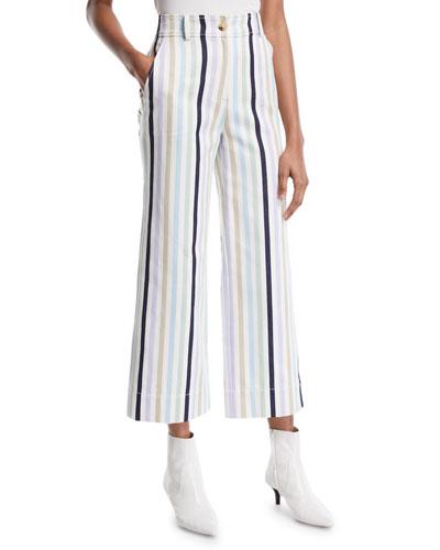 Wide-Leg Cropped Cotton Pants w/ Stripes