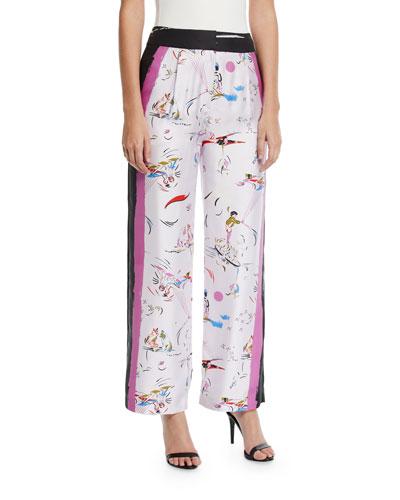 Daydream Solid-Border Silk Pants
