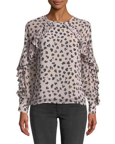 Deen Leopard-Print Top with Pleated Trim