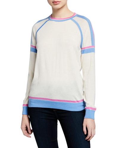 Superfine Crewneck Long-Sleeve Athletic Stripe Cashmere-Blend Sweater