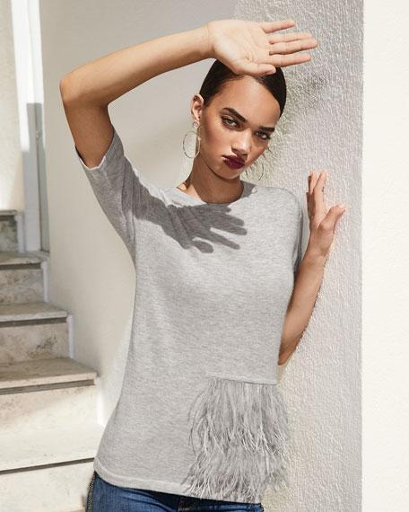 Superfine Crewneck Elbow-Sleeve Cashmere Top w/ Ostrich Feathers