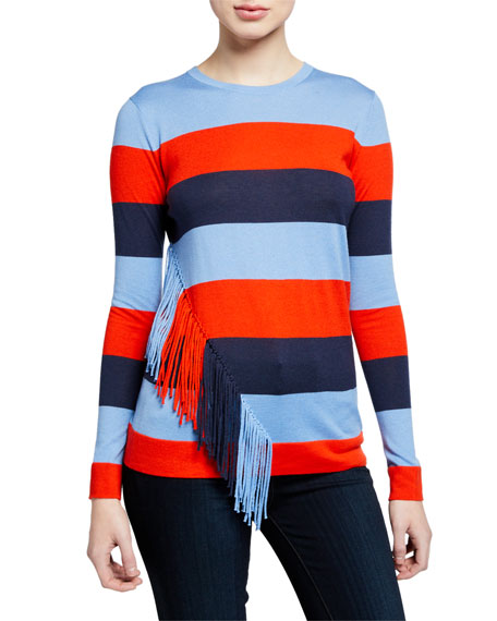 Striped Long-Sleeve Cashmere-Blend Slim-Fit Top w/ Fringe Trim