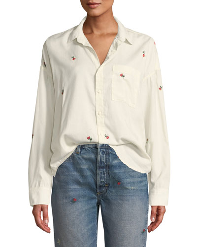 Embroidered Boxy Button-Down Shirt