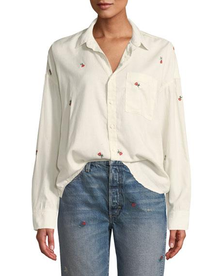 AMO Denim Embroidered Boxy Button-Down Shirt