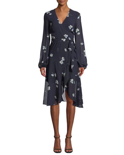 Poppy-Print Long-Sleeve Wrap Dress