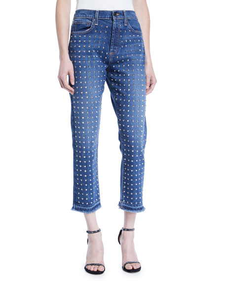 AO.LA BY ALICE + OLIVIA Amazing High-Rise Studded Slim Girlfriend Jeans in Homebound