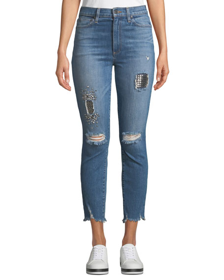 AO.LA BY ALICE + OLIVIA Good High-Rise Studded Ankle Skinny Jeans in True Lies