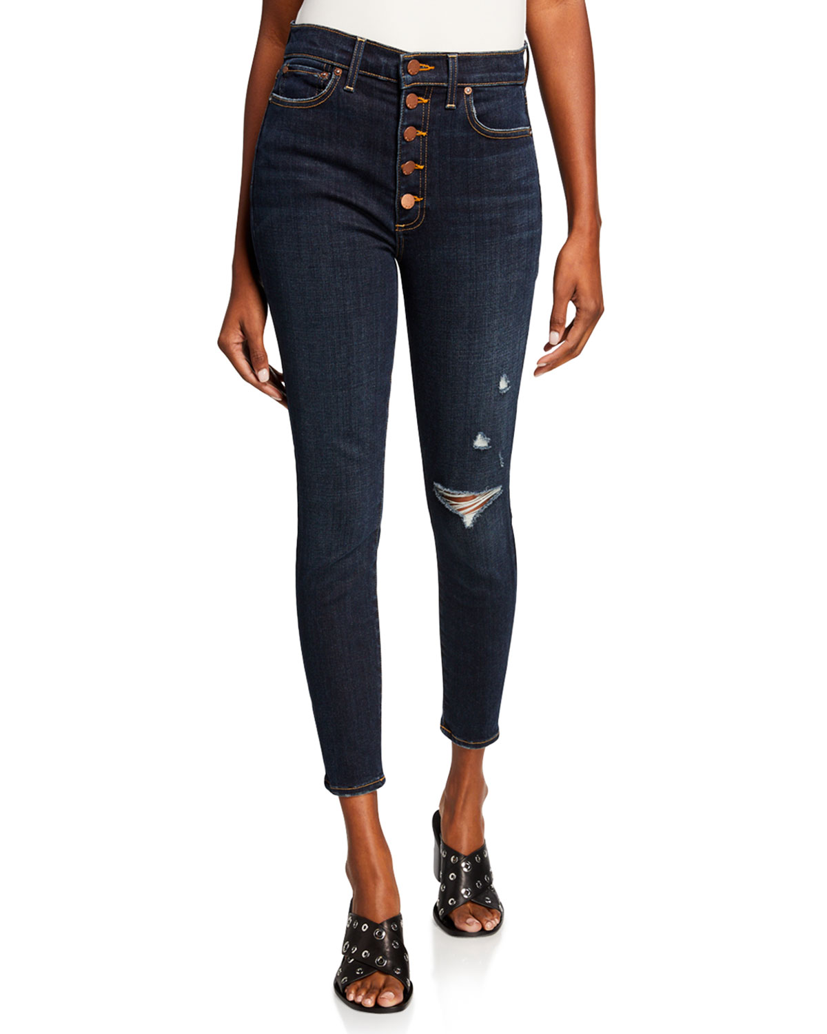 5ceb5400770 ALICE + OLIVIA JEANS Good High-Rise Exposed Button Skinny Jeans ...