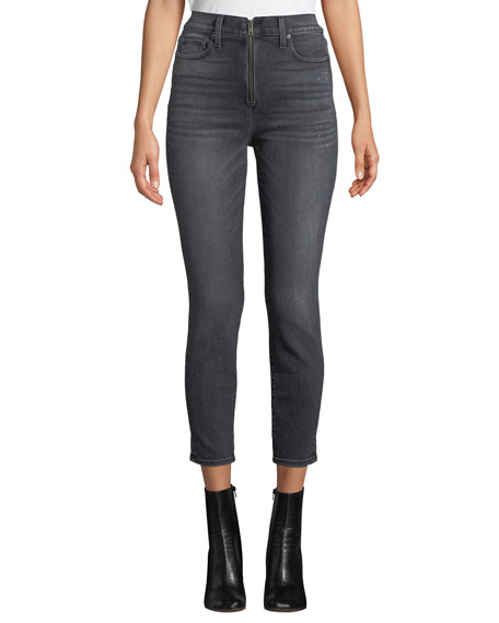 AO.LA BY ALICE + OLIVIA Good High-Rise Ankle Skinny Jeans With Exposed Zip Fly in Black Magic