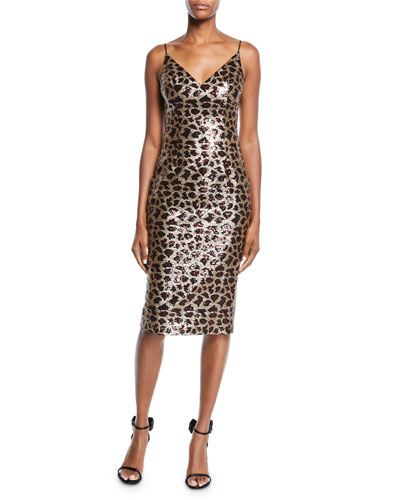 Amorie Leopard-Print Sequined Cocktail Dress