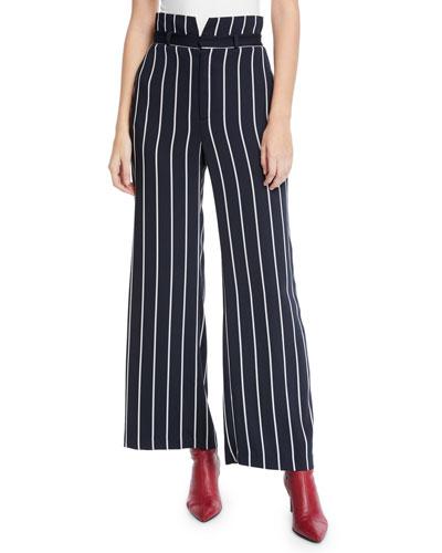 Striped High-Waist Wide-Leg Pants
