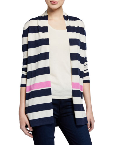 Superfine Cashmere-Blend Striped Colorblock Cardigan