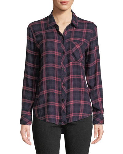 Hunter Long-Sleeve Plaid Button-Front Top