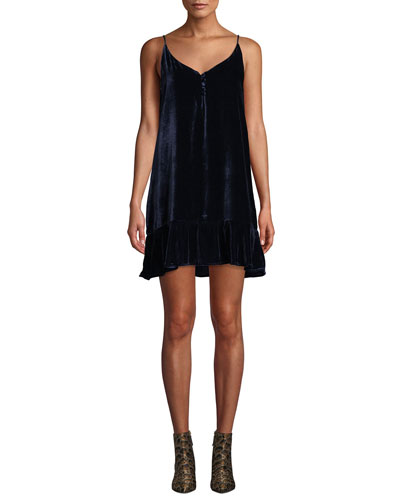 Audrina Velvet Flounce Shift Dress