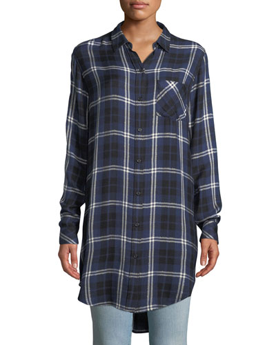 Bianca Oversized Plaid Button-Down Shirt